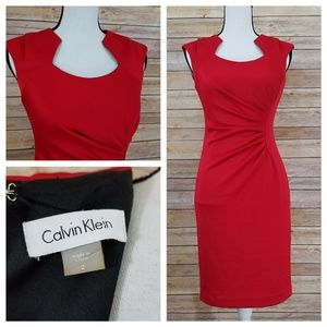 Calvin Klein 2 Red Ruched Sheath Midi Dress